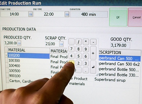 Data entry can be carried out on a touch screen